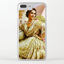 Mexican Calendar Girl in Embroidered Dress by Jesus Helguera Clear iPhone Case
