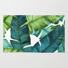 Tropical Banana Leaves Unique Pattern Rug