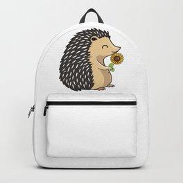Hedgehog Hold Sunflower Backpack