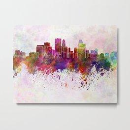 Minneapolis skyline in watercolor background Metal Print
