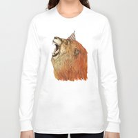 lion Long Sleeve T-shirts featuring Birthday Lion by Sandra Dieckmann