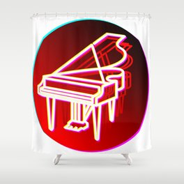 Grand Piano Retro 70s 80s Clavier Pianist Gift Shower Curtain