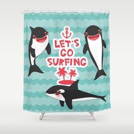 Lets go surfing, Kawaii orca Shower Curtain