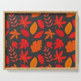 Red autumn leaves Serving Tray