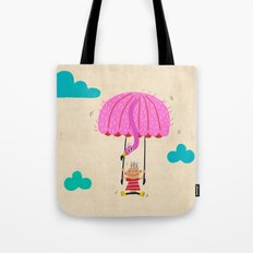 one of the many uses of a flamingo - parachute Tote Bag