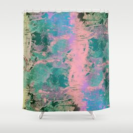 Pink and Green Paint Shower Curtain