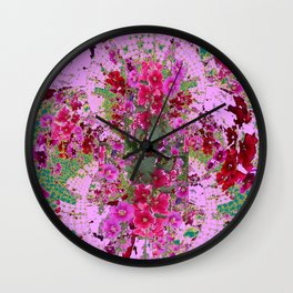 PINK HOLLYHOCK FLOWERS TEAL ABSTRACT GARDEN Wall Clock