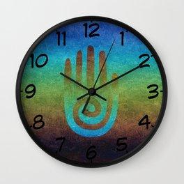 Spiral Hand Rainbow Grunge Wall Clock
