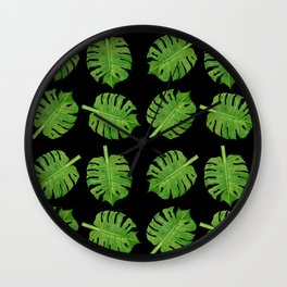 Dancing Monstera Leaves II Wall Clock