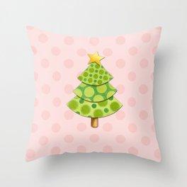 Pink Polka Dots Christmas Throw Pillow