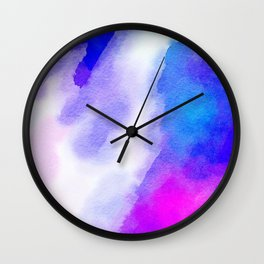 Watercolor-blue,white and pink Wall Clock