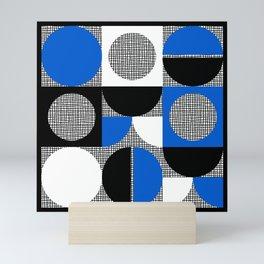 Segments and Circles Black Blue Mini Art Print