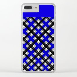 Combo black blue plaid Clear iPhone Case