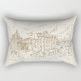 temples in Foro Romano, Rome, Italy hand draw Rectangular Pillow