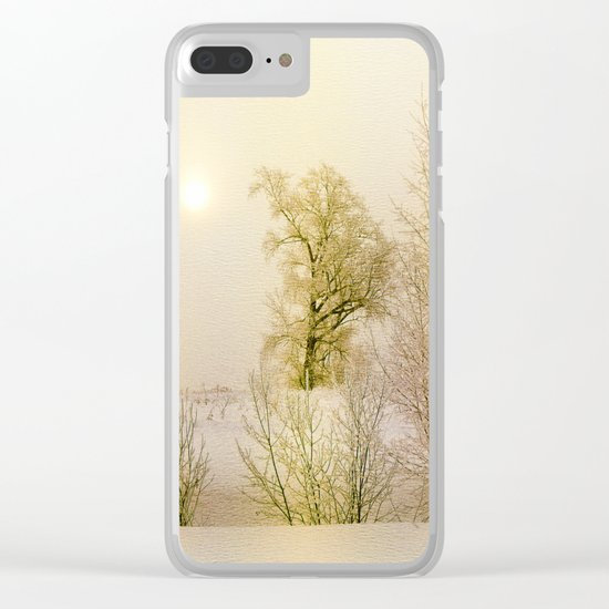 Golden Winter Forest Clear iPhone Case