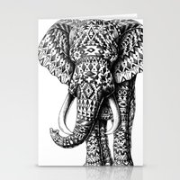 ornate elephant Stationery Cards featuring Navajo Elephant by BIOWORKZ