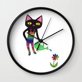 Black Cat Wearing Rainbow Unitard While Gardening Wall Clock