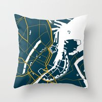 denmark Throw Pillows featuring Copenhagen Denmark Map by Studio Tesouro
