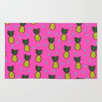 pineapples Area & Throw Rugs featuring Pineapples by Sandra Arduini