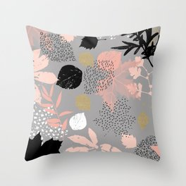 Abstract maple leaves autumn in pink and gray colors Throw Pillow