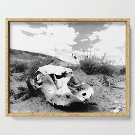 Desert Skull in Black and White Photography Serving Tray