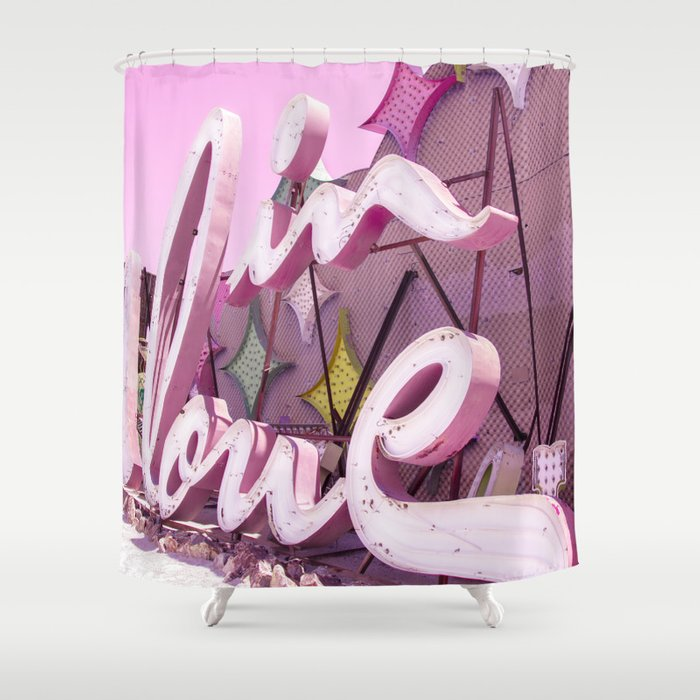"""Pink """"In Love"""" Sign at the Neon Museum in Las Vegas, Nevada Shower Curtain"""