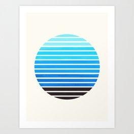 Cerulean Blue Mid Century Modern Minimalist Scandinavian Colorful Stripes Geometric Pattern Round Ci Art Print