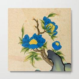 Minhwa: Peony on the Rock B Type (Korean traditional/folk art) Metal Print