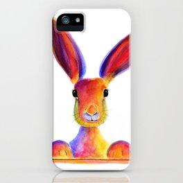 Happy Hare Rabbit ' JUST TO SAY HELLO ' by Shirley MacArthur iPhone Case