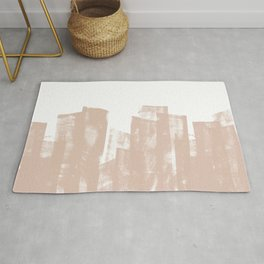 Rolled Ink Texture in Soft Terracotta and White Rug