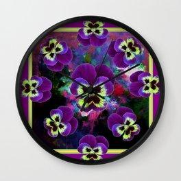 Decorative Design Purple Pansies Art Wall Clock