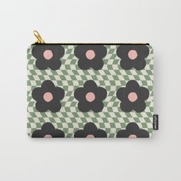 A Single Flower (Checked & Warped BG) Carry-All Pouch