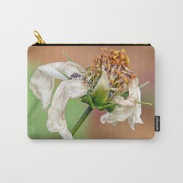 """flower, white flower, fly, insect, macro, photo-macro. """"Destructured flower and little fly"""" Carry-All Pouch"""