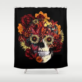 Full circle...Floral ohm skull Shower Curtain