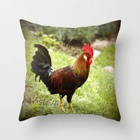 rooster Throw Pillows featuring Rooster by Deborah Lehman