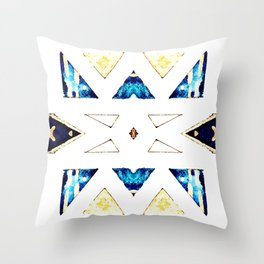 Triangular Pattern in Gold, Black and Blue Throw Pillow
