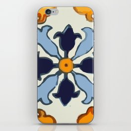 Talavera Mexican tile inspired bold design in blue and gold iPhone Skin