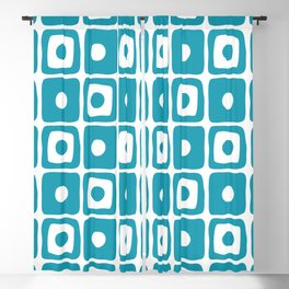 Mid Century Square Dot Pattern Turquoise Blackout Curtain