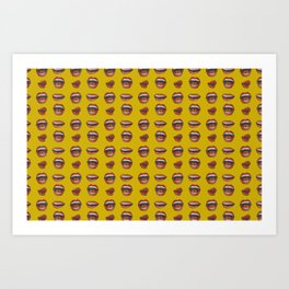 Loose Lips (on Amber Yellow Background) Art Print