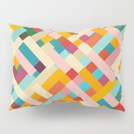 colorful retro striped Were Pillow Sham