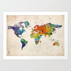 How Far From Home Global Map Art Print