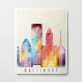 Baltimore landmarks watercolor poster Metal Print