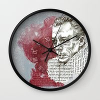 camus Wall Clocks featuring Camus - The Stranger by Nina Palumbo Illustration