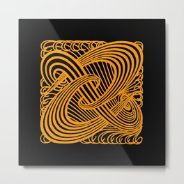 Art Nouveau Swirls in Orange and Black Metal Print
