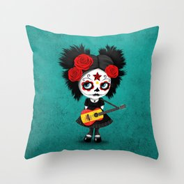 Day of the Dead Girl Playing Spanish Flag Guitar Throw Pillow