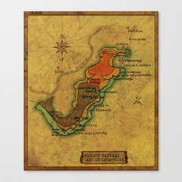 Map Mermaid Cabo de Gata Canvas Print