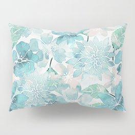 Blue green watercolor flower pattern Pillow Sham