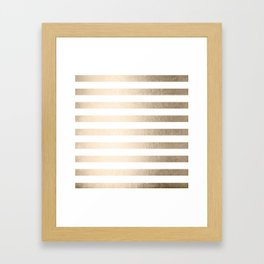 Simply Striped in White Gold Sands Framed Art Print