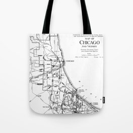 Vintage Map of The Chicago Railroad Network (1913) Tote Bag