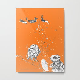 Two Tailed Duck and Jellyfish Orange Metal Print